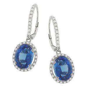 Halo Style Pave Diamond and Tanzanite Dangle Earrings