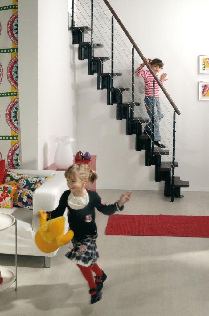Escalier modulaire à pas décalés en kit KYA : vente Escaliers gain de place, escamotables et Escaliers à pas japonais | Echelle Européenne