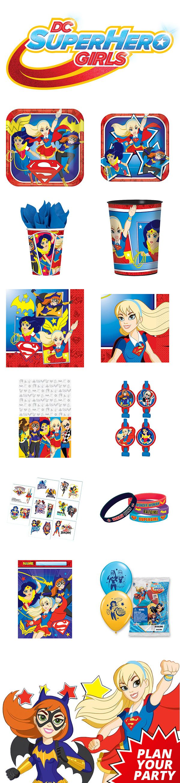 Our DC Superhero Girls party supplies features a full line of tableware, favors, decorations, and other super-fun supplies for your birthday party. Visit us today to plan your party: http://www.discountpartysupplies.com/girl-party-supplies/supergirl-party-supplies?utm_source=Pinterest&utm_medium=Social&utm_content=pinterest_theme_board&utm_campaign=superhero_girls_Promoted_Pin