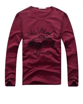 Round Neck Bubble Car Pattern Long Sleeve Casual Man T Shirts