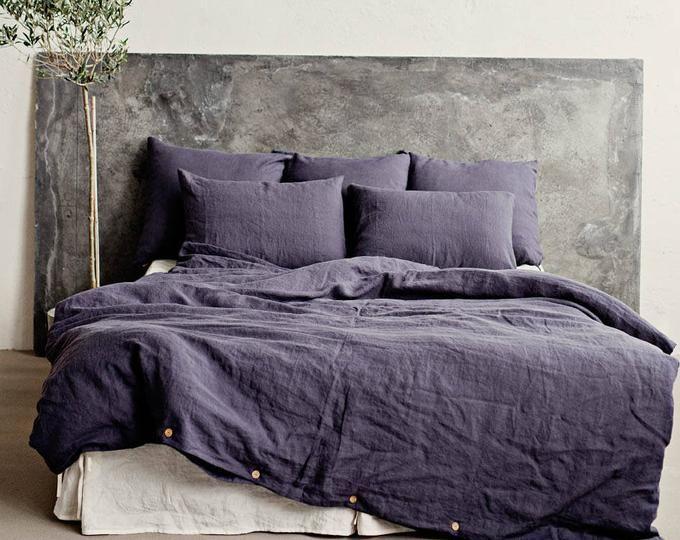 Linen Bedding Set In Charcoal Gray Dark Gray Color King Etsy Linen Duvet Covers Grey Linen Bedding Linen Duvet