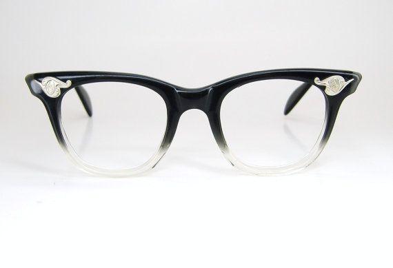 Vintage Black Clear Horn Rim Cat EyeCat Eye