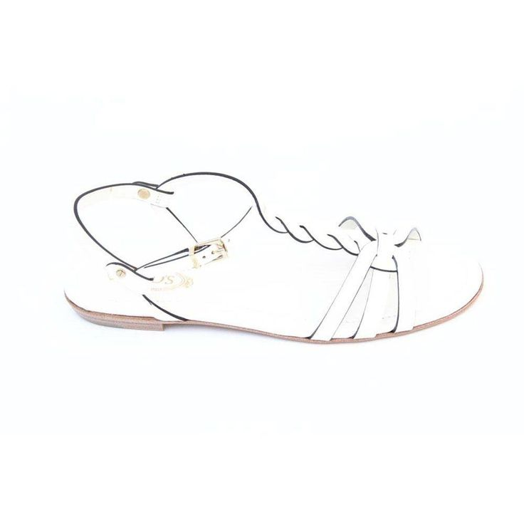 White 36.5 EUR - 6.5 US (244mm) Tods ladies flat sandal XXW0MD0A060297B001