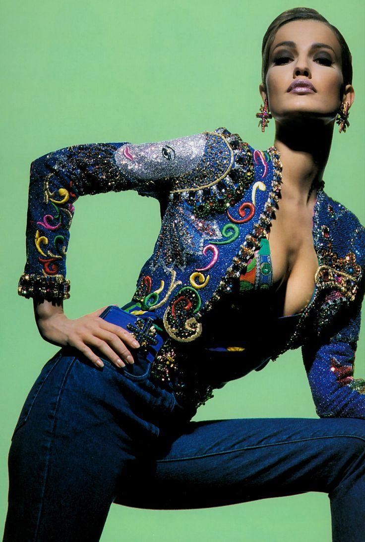 Karen Mulder for Versace (90s) - stunning embroidered denim jacket and jeans #VintageVersace