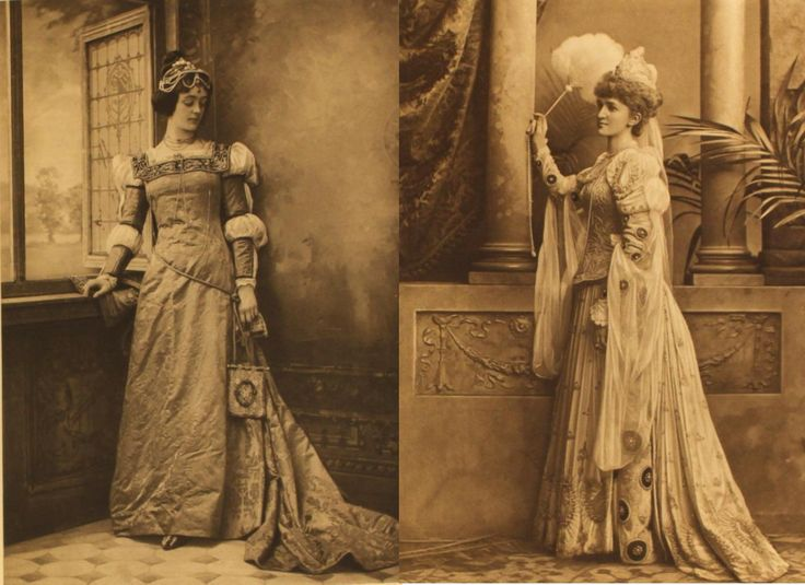 Lady Robert Cecil dressed as Valentine Visconti and Lady St Oswald dressed as the Duchessa di Calaria, for the Duchess of Devonshire's Jubilee Costume Ball of 1897.