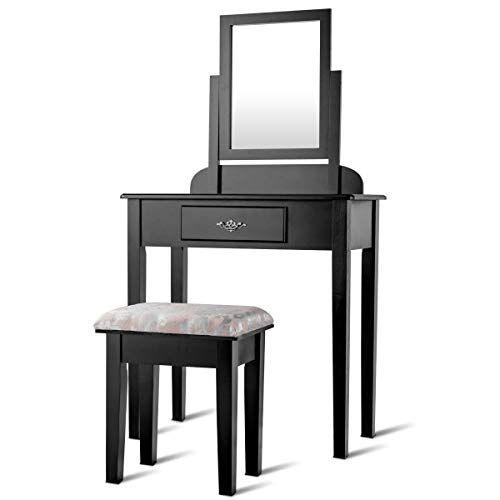 Enjoyshop Makeup Desk Vanity Dressing Table Set Storage Organizer Mirror Drawer Hair Care Durable And Sturdy Dressing Table Set Dressing Table Storage Vanity Table Set