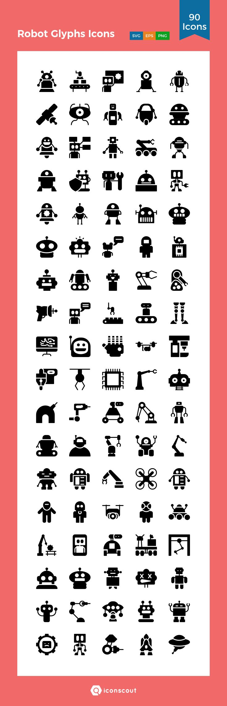 Robot Glyphs Icons  Icon Pack - 90 Solid Icons