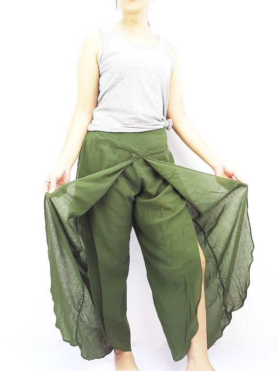 SOS15 Women Fashion Trouser Pants Maxi Trouser Cotton Trouser Comfy Trouser Open Leg Wide Leg Plain Color Solid Color Green Olive
