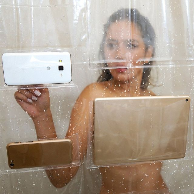 Multi Functional Shower Curtain Phone Tablet Holder Clear Shower