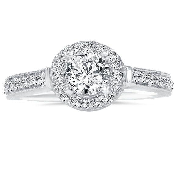 3/4CT Diamond Engagement Ring Halo Vintage Antique Hand Engraved Filigree Ring White Gold