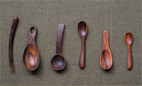 Polished wooden spoons.
