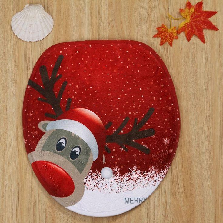 Christmas Deer Pattern 3 Pcs Bathroom Toilet Mat - RED
