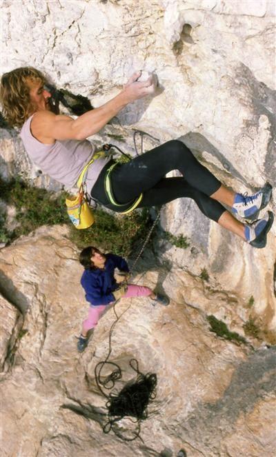 Patrick Edlinger, pionnier de l'escalade libre en France, ici aux côtés de Patrick Berhault. Photo archives J-M.A.