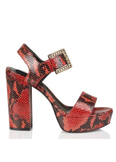Sandales à talons et plateforme en cuir reptile Rouge by THE KOOPLES