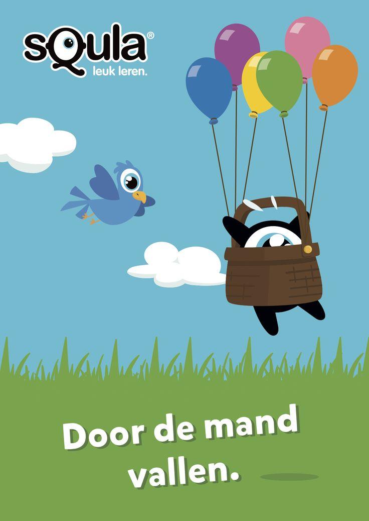 Educatieve poster met Nederlandse spreekwoorden en gezegden: Door de mand vallen.