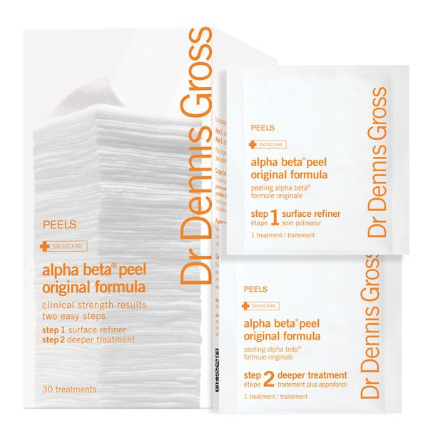 DENNIS GROSS ALPHA BETA PEEL ORIGINAL FORMULA - 30 APPLICATION PACKETTES $86.00 CAD  PROVIDES MICROEXFOLIATION WITHOUT RECOVERY TIME. DESCRIPTION: A two-step anti-aging facial peel that reduces fine lines and wrinkles, enlarged pores, fights blemishes and helps with dark spots and redness. Dr. Gross' research shows this #1 selling at-home facial peel delivers instant and lasting benefits, including a smoother, brighter, more youthful and clearer complexion. #DrDennisGross #face #exfoliants