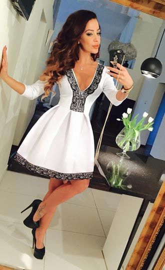3/4 Sleeve Lace V-Neck White Sexy Skater Dress