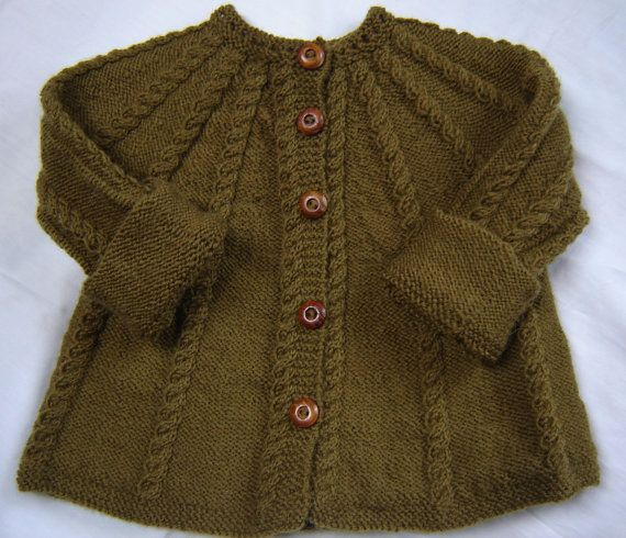Baby Sweater Hand Knit Wool  Olive Green Size 3M by SwanAvenue