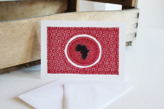 Love Africa Red Shweshwe fabric sewn card von luvieduviehandmade, 4.50