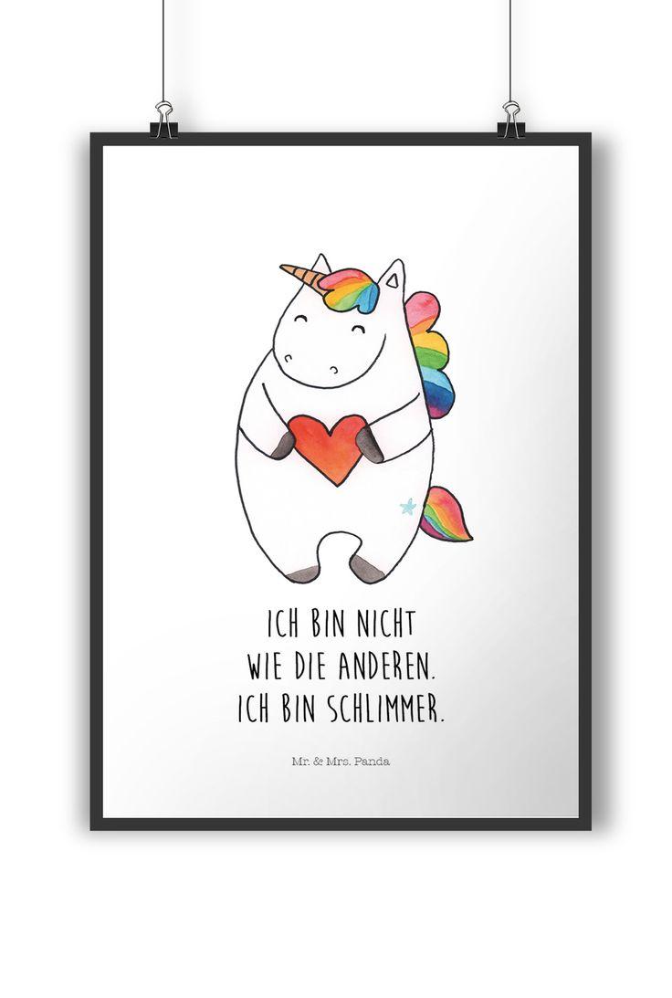 Poster DIN A4 Einhorn Herz aus Papier 160 Gramm  weiß - Das Original von Mr. & Mrs. Panda.  Jedes wunderschöne Poster aus dem Hause Mr. & Mrs. Panda ist mit Liebe handgezeichnet und entworfen. Wir liefern es sicher und schnell im Format DIN A4 zu dir nach Hause.    Über unser Motiv Einhorn Herz  Das süße Einhorn mit dem Herz wirkt ganz freundlich, hat es aber faustdick hinter den Ohren. Das perfekte Motiv für die beste Freundin oder die eigene Zimmertür.     Verwendete Materialien  Es…