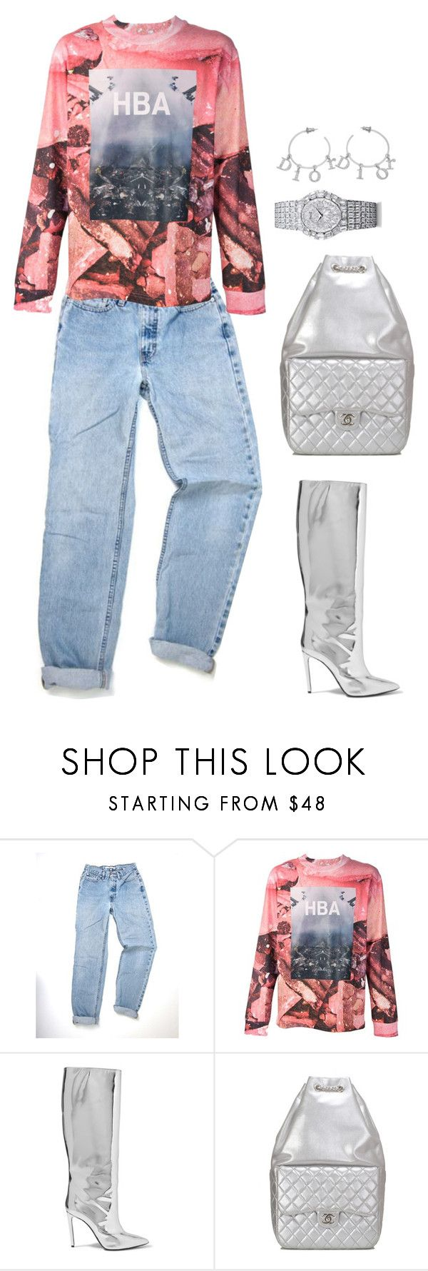 """""""Untitled #2235"""" by mollface ❤ liked on Polyvore featuring Hood by Air, Balenciaga, Chanel and Piaget"""