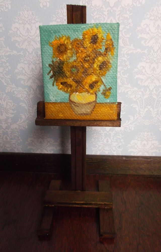 Mini painting The Sunflowers by Van Gogh, Oil in canvas artist handmade