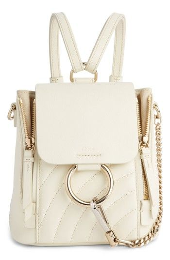 CHLOE FAYE QUILTED LEATHER BACKPACK - WHITE