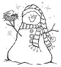 White wool felt snowman;a colorful scarf and add an adorable nest.