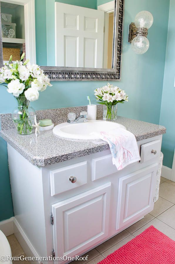 Coastal blue powder room makeover before after paint for Paint colors for powder rooms