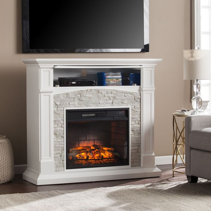 Refresh your home with this striking infrared electric fireplace. The simple and linear silhouette is finished in a smooth white hue, lending a crisp contrast to the realistic white stone surrounding