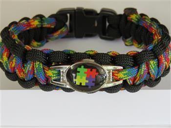 18cm+Paracord+Autism+Bracelet+with+BLACK+charm+-+Brad's+Little+Aussie+Autism+Shop
