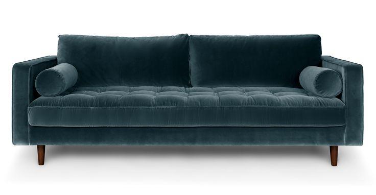 : My dream sofa. Tuxedo style. Velvet. Single bench seat. Bolster pillows. Teal blue… DROOL. —JTL