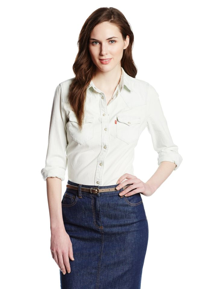 Levi's Women's Denim Classic Western Shirt, White Wash