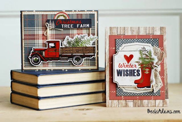 card winter Christmas truck fetching the tree plaid paper rubber boots holiday greenery Carta Bella Warm and Cozy paper collection Cards by Becki Adams
