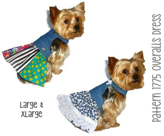 Overalls Dog Dress Pattern 1775 * Large & XLarge * Dog Clothes Sewing Pattern * Dog Harness Dress * Dog Apparel * Designer Dog Clothes