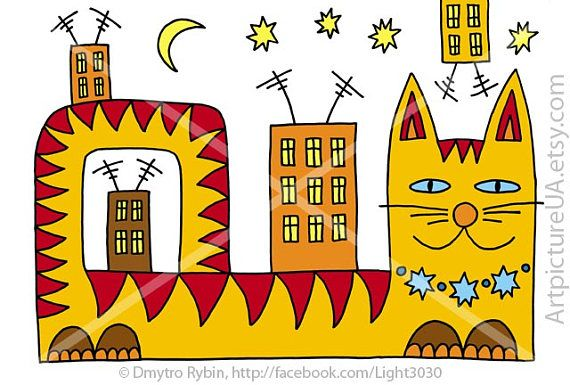 A cat in the city under the stars and the moon. Fantasy.
