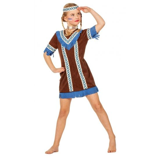 Indianen kostuum voor meisjes. Indianen jurkje met bijpassende hoofdband voor meisjes. In verschillende maten verkrijgbaar. Carnavalskleding 2015 #carnaval