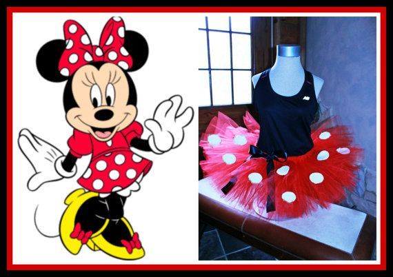 Red Minnie Mouse Inspired Walt Disney World Disneyland Half Marathon Running Adult Womens Ladies Tutu Skirt by HandpickedHandmade, $15.00 Princess Dash Color Fun Run Bachlorette Bridal Shower Disney Party. Dress up fun! Great affordable running outfit!