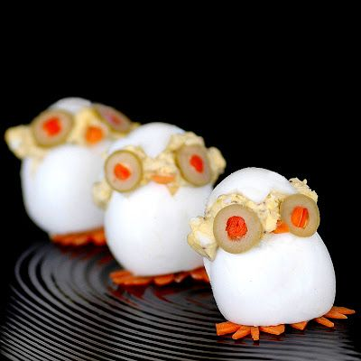 Cute Devilled eggs.  With a little Paleo Mayo and some spices they'd be divine!