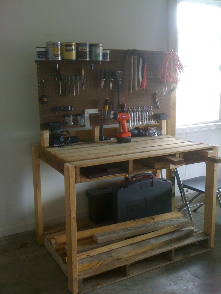 Pallet Workbench.  Totally want to do this for my craft desk!