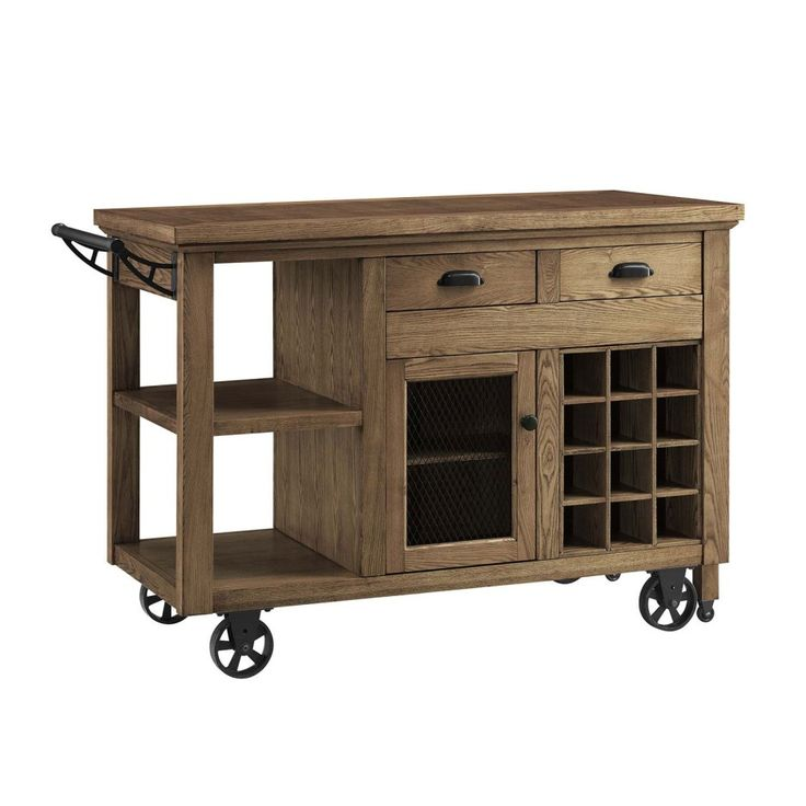 Furniture. unpolished walnut hardwood rolling chart island with black iron wheels having cube bottle storage and drawers also shelves. Appealing Movable Kitchen Island Design Ideas
