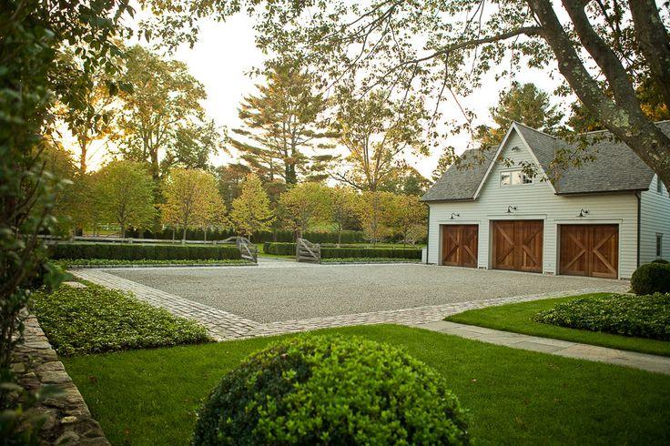 Doyle Herman Design Associates Landscape Design, driveway courtyard, clean lines, barn style garage