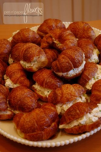 mini french bakery themed party - yummy chicken salad croissants