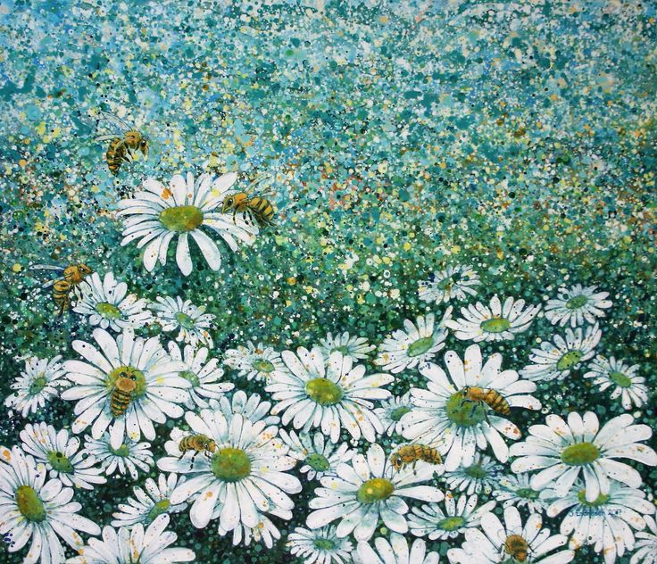 Et yrende liv 2 - acrylic paintings - flowers - blomster - bees - bier - painting - maleri - art - kunst