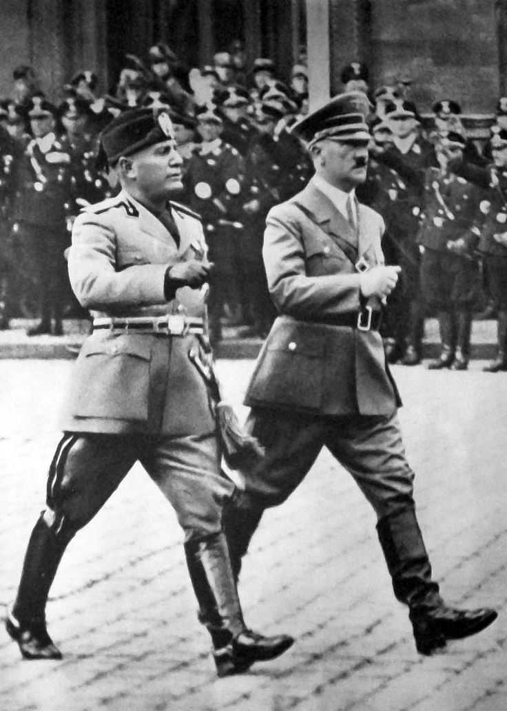 "Mussolini pays an official visit to Berlin, 1937. Hitler thought highly of the Italian dictator and the two shared an unusual rapport. Hitler praised Mussolini routinely in private and hailed him as a ""pioneer"" in the ""New Europe."""