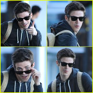 Grant Gustin Gets Playful with Paparazzi in Between 'The Flash' Scenes