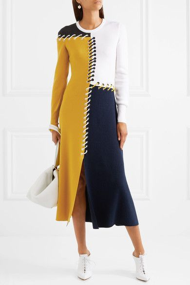 Cédric Charlier - Color-block Whipstitched Wool And Cashmere-blend Midi Dress - Navy
