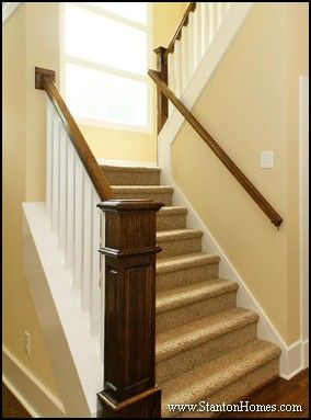 this custom home features a craftsman style staircase with a box newel post system