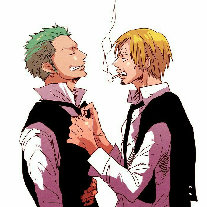 Zoro, Sanji, yaoi, funny, tie, suits, outfits; One Piece