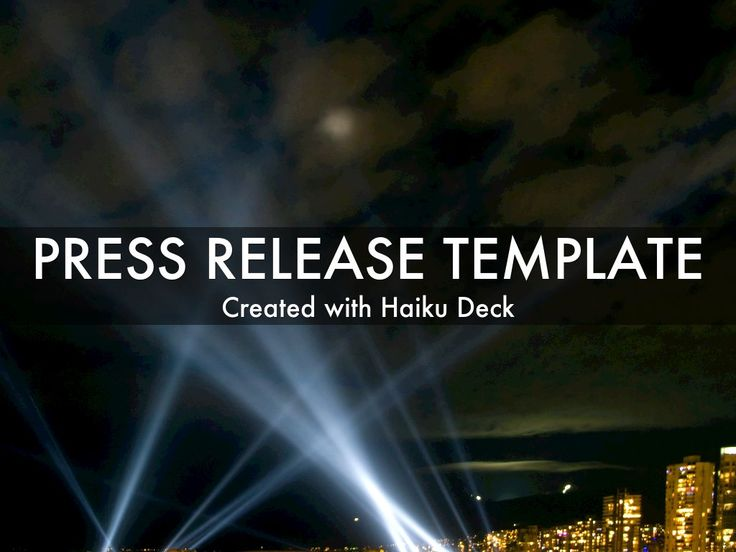 Simple, beautiful, flexible press release template to add visual interest to announcements. Ideas: embed in blog or website, post to social media channels, email to key contacts.